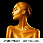 Fashion Art Golden Skin Woman...