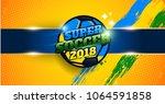 brazil team banner for football ... | Shutterstock .eps vector #1064591858