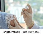 hpv vaccine healthcare concept. ... | Shutterstock . vector #1064594558