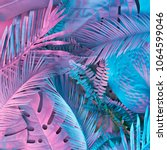 tropical and palm leaves in... | Shutterstock . vector #1064599046