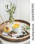 healthy vegan turmeric latte or ... | Shutterstock . vector #1064599295