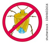 sign insect bedbug prohibiting... | Shutterstock .eps vector #1064602616