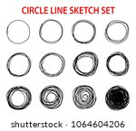 circle scribble line sketch set ... | Shutterstock .eps vector #1064604206