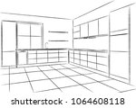 kitchen corner sketch hand... | Shutterstock .eps vector #1064608118