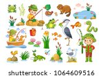 vector set on a fishing theme.... | Shutterstock .eps vector #1064609516
