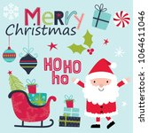 cute christmas sets with santa... | Shutterstock .eps vector #1064611046
