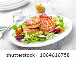 cutlets and fresh vegetable... | Shutterstock . vector #1064616758