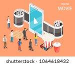 online movie flat isometric...   Shutterstock .eps vector #1064618432