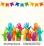 colorful up hands. vector... | Shutterstock .eps vector #1064620232