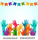 colorful up hands. vector... | Shutterstock .eps vector #1064620235