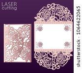 vector die laser cut envelope... | Shutterstock .eps vector #1064622065