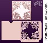 die laser cut wedding card... | Shutterstock .eps vector #1064622086