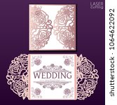 vector die laser cut envelope... | Shutterstock .eps vector #1064622092
