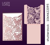 laser cut wedding invitation... | Shutterstock .eps vector #1064622095