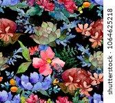 colorful bouquet. floral... | Shutterstock . vector #1064625218