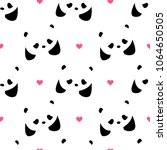 seamless pattern with pandas ... | Shutterstock .eps vector #1064650505