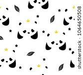 seamless pattern with pandas... | Shutterstock .eps vector #1064650508