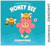 poster design with vector honey ... | Shutterstock .eps vector #1064654645