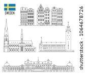 swedish set of landmark icons... | Shutterstock .eps vector #1064678726