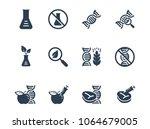 gmo related vector icon set | Shutterstock .eps vector #1064679005