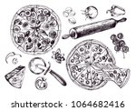 pizza with pepperoni  olives... | Shutterstock .eps vector #1064682416