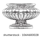 ancient carving street vase... | Shutterstock .eps vector #1064683028