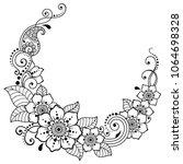mehndi flower pattern for henna ... | Shutterstock .eps vector #1064698328