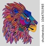 colourful lion print | Shutterstock . vector #1064701985
