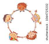multinational group of children.... | Shutterstock .eps vector #1064725232