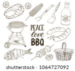 hand drawn barbecue objects... | Shutterstock .eps vector #1064727092