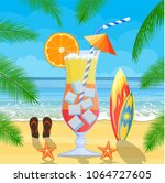 huge glass with exotic cocktail ... | Shutterstock . vector #1064727605