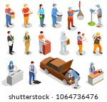 worker professions including...   Shutterstock .eps vector #1064736476