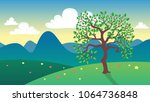 isolated summer tree standing... | Shutterstock .eps vector #1064736848