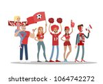 football fans with red. team... | Shutterstock .eps vector #1064742272