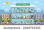 electronics center mall in... | Shutterstock .eps vector #1064742332