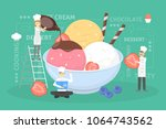 cooking giant ice cream. chefs... | Shutterstock .eps vector #1064743562