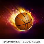 flying basketball on fire | Shutterstock .eps vector #1064746106