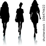 silhouettes of fashion women | Shutterstock .eps vector #106474622