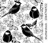 seamless pattern with birds ... | Shutterstock .eps vector #1064746922