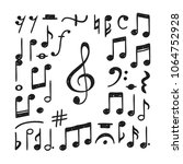 hand drawn music notes... | Shutterstock .eps vector #1064752928