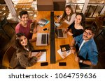 groups of friends studying... | Shutterstock . vector #1064759636