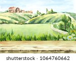 old farm in rural landscape and ...   Shutterstock . vector #1064760662