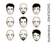 set of men faces  human heads.... | Shutterstock .eps vector #1064762342