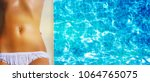young woman in the swimming pool | Shutterstock . vector #1064765075