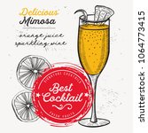 cocktail mimosa for bar menu.... | Shutterstock .eps vector #1064773415