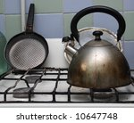 Dirty Gas Stove With Teakettle...