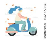 the girl is riding the scooter. ... | Shutterstock .eps vector #1064777312