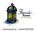 traditional lantern of ramadan  ... | Shutterstock .eps vector #1064789228
