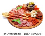 meat and cheese plate with...   Shutterstock . vector #1064789306