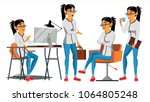 business woman character vector.... | Shutterstock .eps vector #1064805248